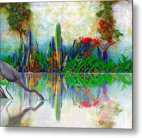 John+kolenberg Metal Print featuring the photograph Blue Heron In My Mexican Garden by John Kolenberg