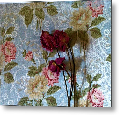 Photo Metal Print featuring the photograph Dried Roses Against The Wallpaper by Marsha Heiken