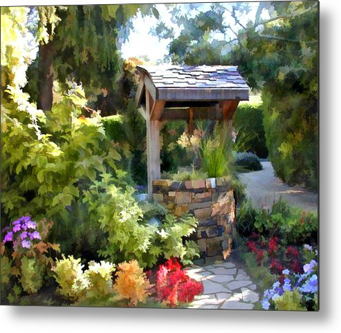Metal Print Featuring The Painting Garden Wishing Well By Elaine Plesser