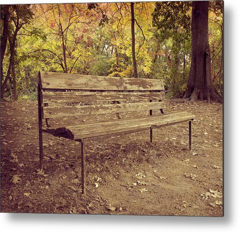 Park Bench Metal Print featuring the photograph Park Bench by Steven Michael