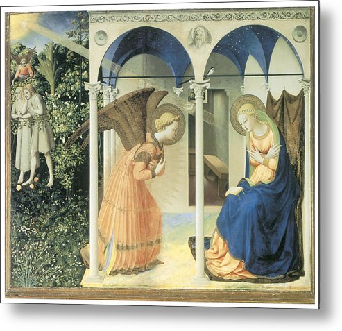 Fra Angelico Metal Print featuring the painting The Annunciation by Fra Angelico