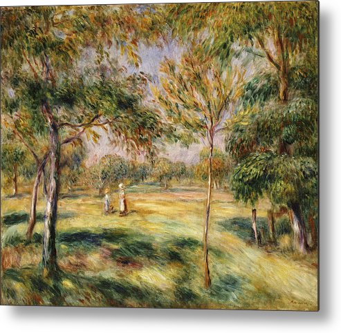 Impressionist; Impressionism; Countryside; Landscape; Tree Metal Print featuring the painting The Glade by Pierre Auguste Renoir