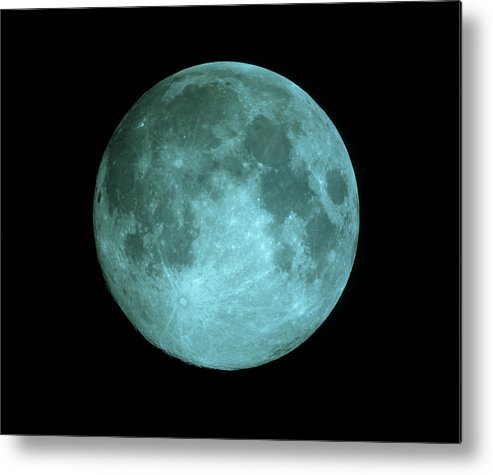 Crater Tycho Metal Print featuring the photograph View Of Full Moon by John Sanford