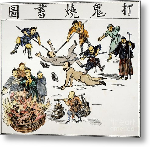 1890 Metal Print featuring the painting China: Anti-west Cartoon by Granger