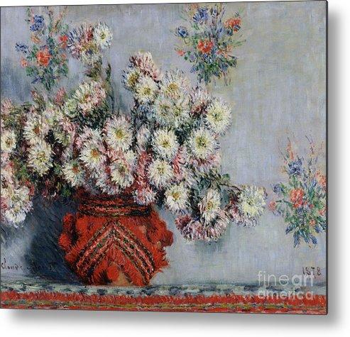 Chrysanthemums Metal Print featuring the painting Chrysanthemums by Claude Monet