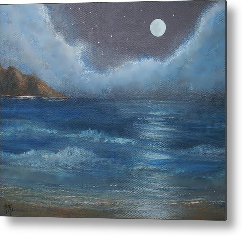 Seascape Metal Print featuring the painting Night Seascape by Tony Rodriguez