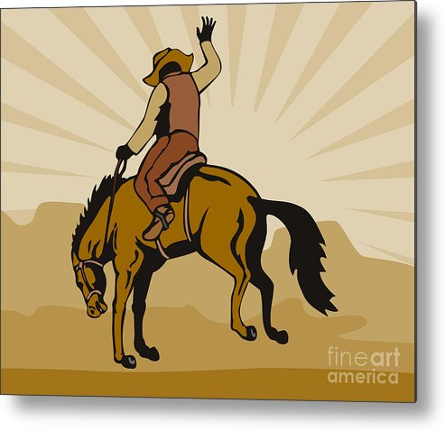 Rodeo Metal Print featuring the digital art Rodeo Cowboy Bucking Bronco by Aloysius Patrimonio