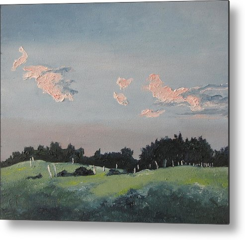 Landscape Metal Print featuring the painting The Pink Clouds by Francois Fournier