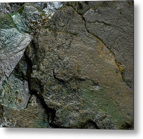 Stone Metal Print featuring the photograph Water And Stone by Marilynne Bull
