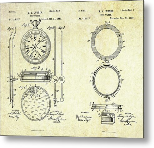 Stop Watch Metal Print featuring the digital art 1889 Stop Watch Patent Art Sheets 1-2 by Gary Bodnar