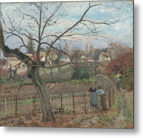 Camille Pissarro Metal Print featuring the painting The Fence by Camille Pissarro