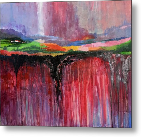 Landscape Metal Print featuring the drawing Abstract Landscape by Samir Saqallah