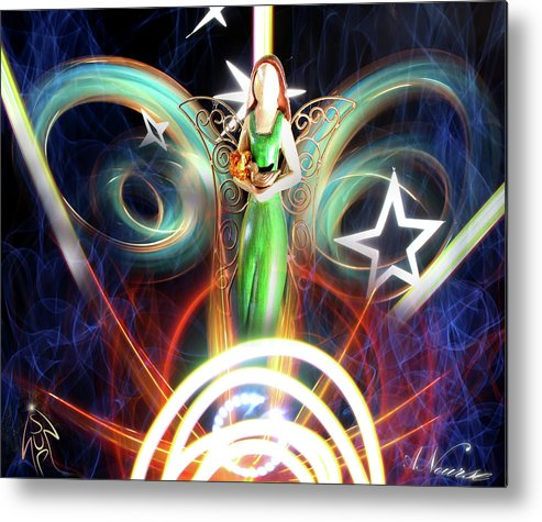 Light Painting Angel Long Exposure Rays Stars Stencils Swirls Red Orange Smokey Spiritual Hope Belief Nourse Anourse Sup Standup Dove Bird Wings Green Dress Sculpture Metal Print featuring the photograph Angel Sunrise by Andrew Nourse