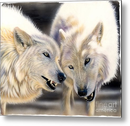 Acrylics Metal Print featuring the painting Arctic Pair by Sandi Baker