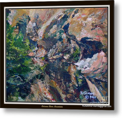 Kosimms Collection Metal Print featuring the painting Arizona River Mountains by Keith OBrien Simms