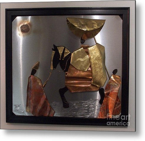 African King Scene Metal Print featuring the sculpture arrival of the Oba by Jeff Williams