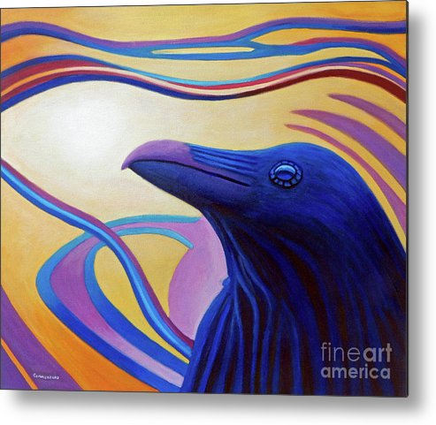 Raven Metal Print featuring the painting Astral Raven by Brian Commerford