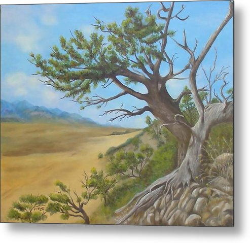 Landscape Metal Print featuring the painting At A Tangent by Merle Blair