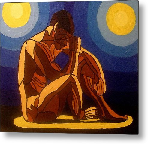 Nude Metal Print featuring the painting Bipolar by Mats Eriksson