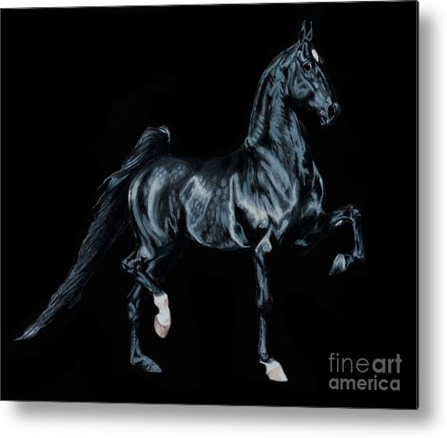 Horse Art Metal Print featuring the painting Black Tie Affair Featuring Saddlebred Champion Undulata's Made In Heaven by Cheryl Poland