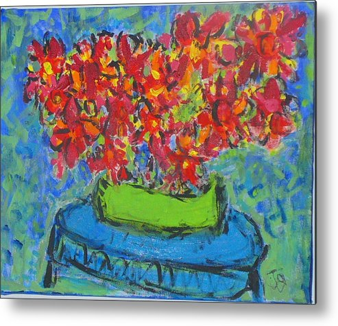 Still Life Metal Print featuring the painting Blue Still by Joyce Goldin