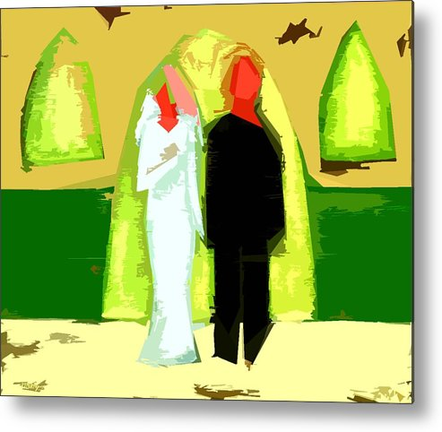 Wedding Metal Print featuring the painting Blushing Bride And Groom 2 by Patrick J Murphy