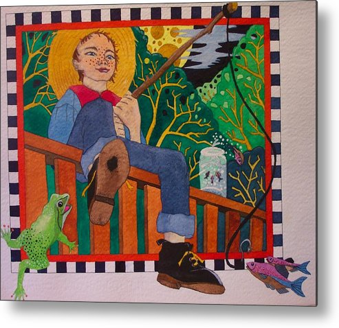 Children Metal Print featuring the painting book illustration - Tom Sawyer by Victoria Heryet