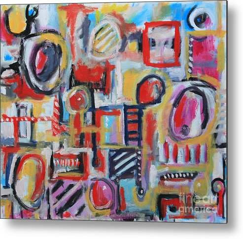 Abstract Art Metal Print featuring the painting Box Of Junk by Michael Henderson