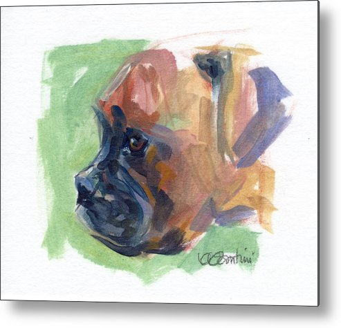 Boxer Puppy Metal Print featuring the painting Boxer Pup by Kimberly Santini