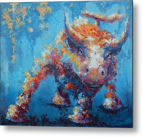 Abstract Metal Print featuring the painting Bull Market X by John Henne