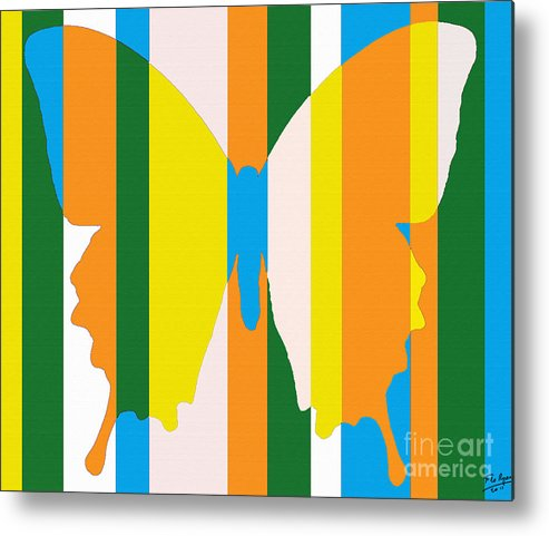 Abstract Metal Print featuring the painting Butterfly 1124 by Flo Ryan