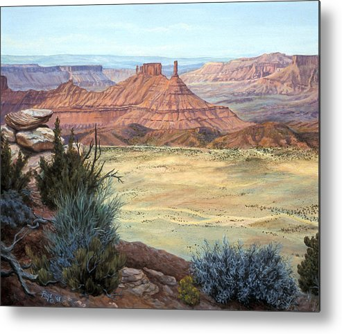 Landscape Metal Print featuring the painting Castle Rock Iv by Page Holland