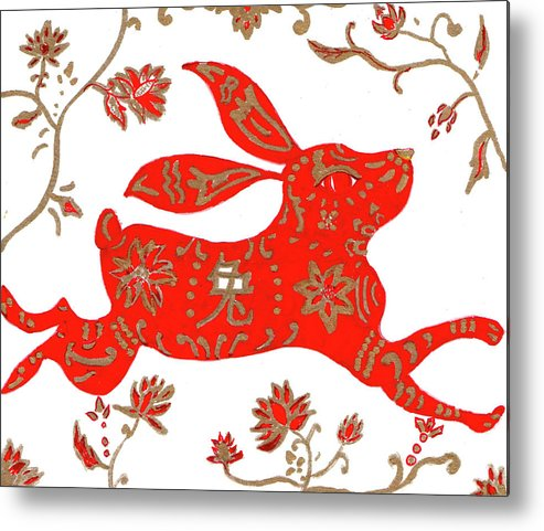 Chinese Metal Print featuring the drawing Chinese Astrology Rabbit by Barbara Giordano
