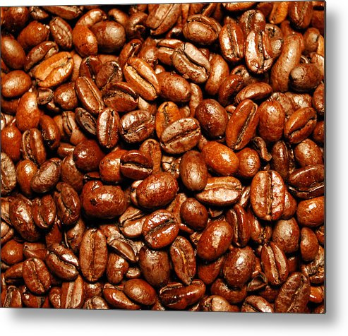 Coffee Metal Print featuring the photograph Coffee Beans by Nancy Mueller