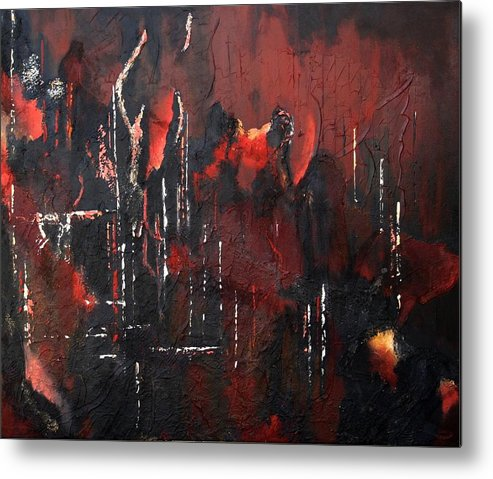 Original Acrylic Abstract Metal Print featuring the painting Connected by Sharon Steinhaus