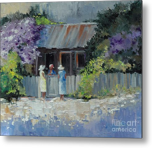 Floral Metal Print featuring the painting Crape Myrtle And Ladies Of Darien by Glenn Secrest