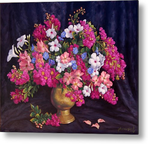 Roses Metal Print featuring the painting Crepe Myrtle And Roses by Johanna Girard