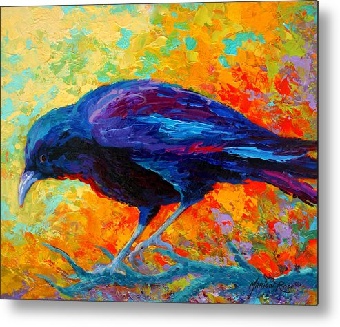 Crows Metal Print featuring the painting Crow IIi by Marion Rose