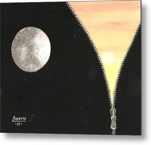Moon Metal Print featuring the painting Day And Night by Edwin Alverio