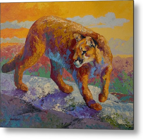 Mountain Lion Metal Print featuring the painting Down Off The Ridge - Cougar by Marion Rose