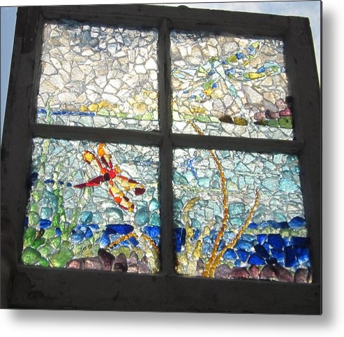 Sea Glass Metal Print featuring the glass art Dragonfly Dreams by Anne Marie Brown