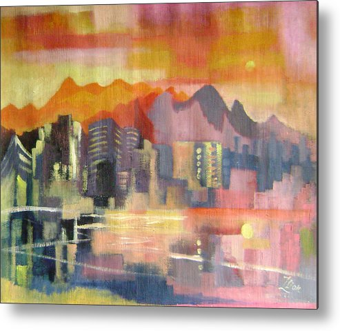 Abstract Metal Print featuring the painting Dream City No.3 by Lian Zhen