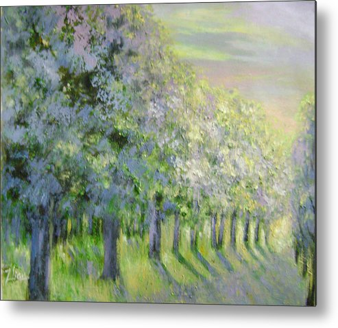 Landscape Metal Print featuring the painting Dreamy Trees by Lian Zhen