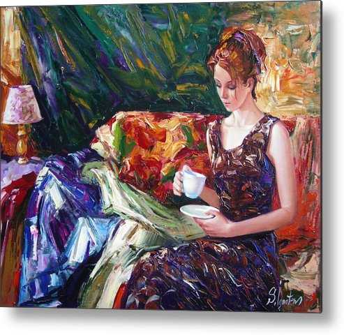 Figurative Metal Print featuring the painting Evening Coffee by Sergey Ignatenko