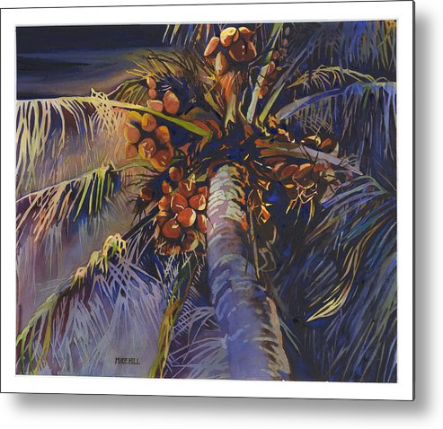 Evening Palm Coconuts Moonlight Hawaii Hawaiian Maui Kihea Brances Blue Watercolor Metal Print featuring the painting Evening Palm by Mike Hill