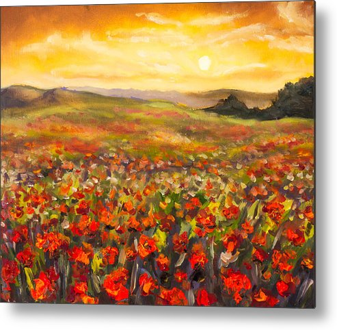 Field of red poppies at sunset in valley of mountains original fieldsofpoppies metal print featuring the painting field of red poppies at sunset in valley of mountains mightylinksfo