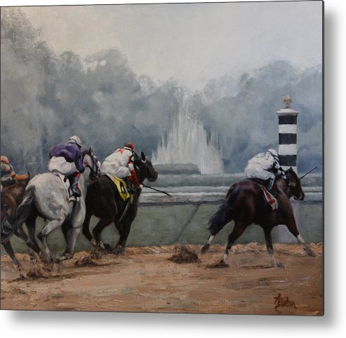 Horse Race Metal Print featuring the painting Final Stretch by Heather Burton