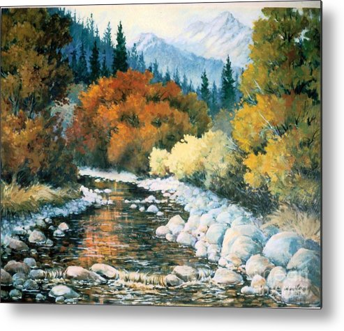 Trees Metal Print featuring the painting Fire River by JoAnne Corpany