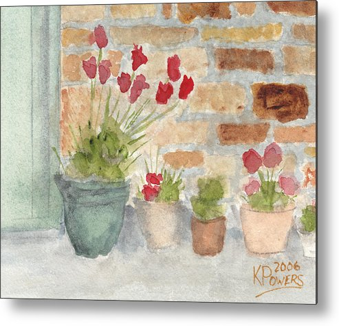 Flower Metal Print featuring the painting Flower Pots by Ken Powers