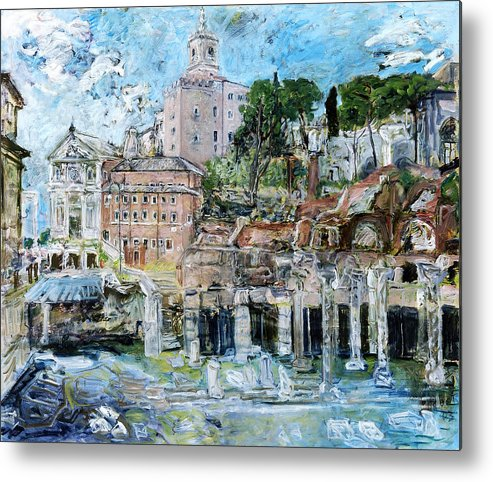 Italy Rome Metal Print featuring the painting Forum Romanum by Joan De Bot